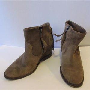 ZARA TRAFALUC BROWN SUEDE  BOOTS W/FRINGE  38/8